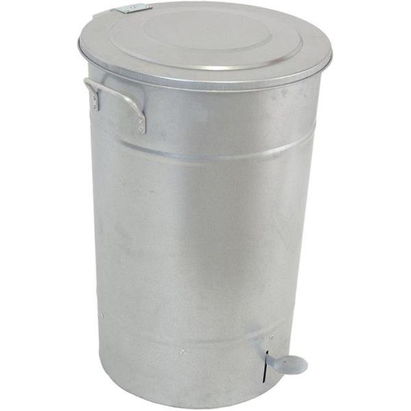 Hykab 11821 Avfallsbeholder med tramp, galvanisert, 70 l sølv