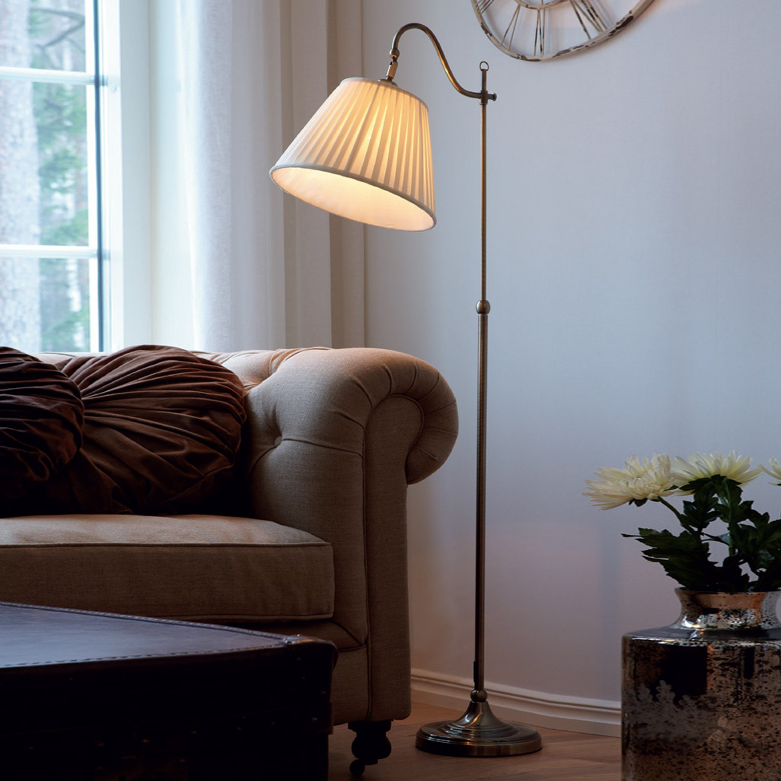 Antikk Charleston stålampe, antikkmessing