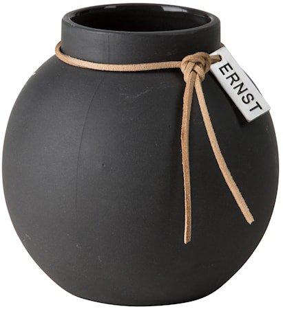 Rund vase Steintøy, 10 cm – Mørkegrå