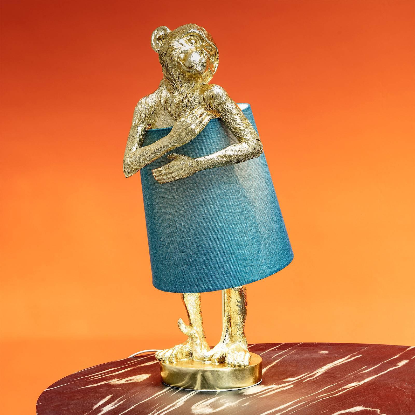 KARE Animal Monkey bordlampe gull/blå