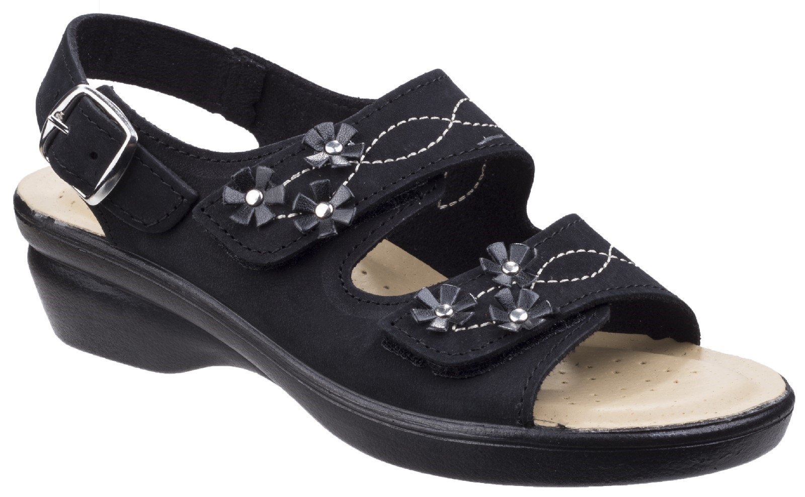 Fleet & Foster Women's Amaretto Touch Fastening Sandal Various Colours 26298 - Black 3