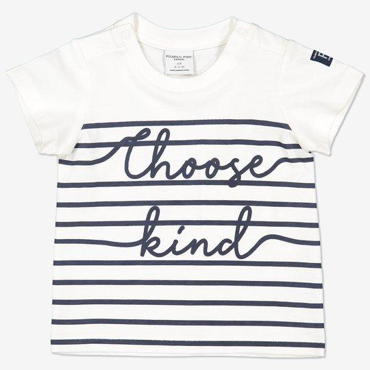 Stripet T-skjorte med teksttrykk baby hvit