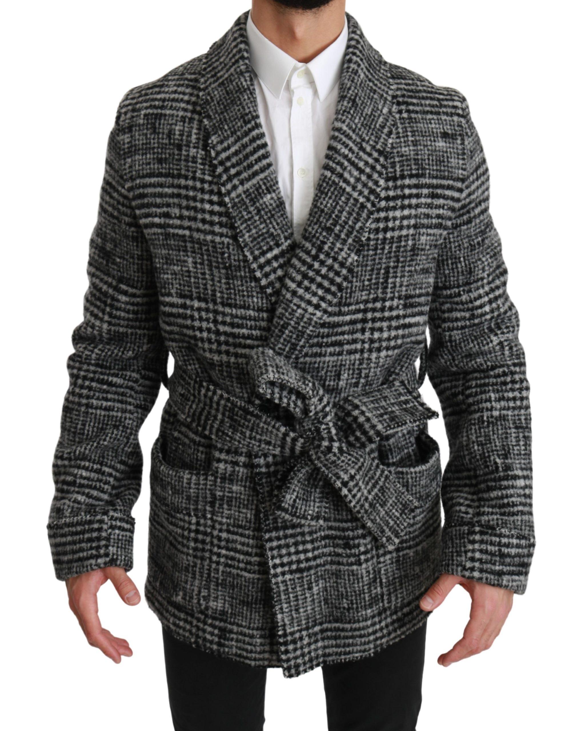 Dolce & Gabbana Men's Checkered Wool Robe Coat Wrap Jacket Gray JKT2489 - IT48 | M