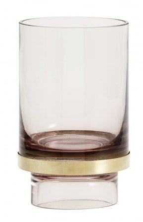 Stearinlysholder/Vase Glass - Transparent Lavender