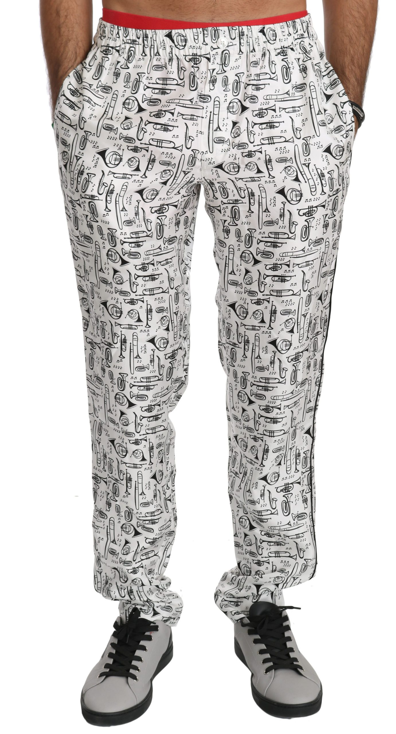 Dolce & Gabbana Men's Music Instruments Silk Trouser White PAN70747 - IT44 | XS