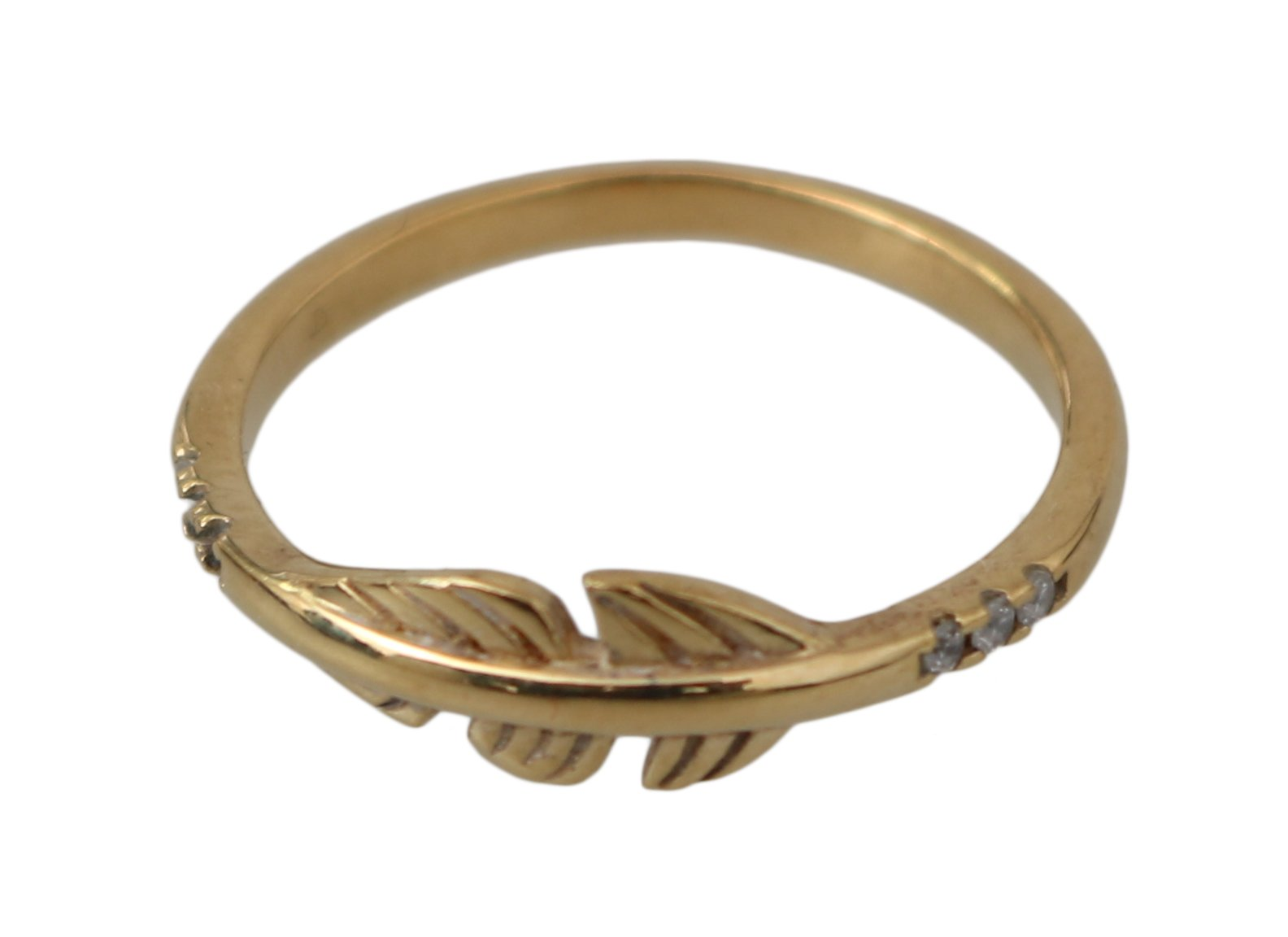 Nialaya Women's Feather Clear Authentic Ring Gold NY106 - EU54 | US7