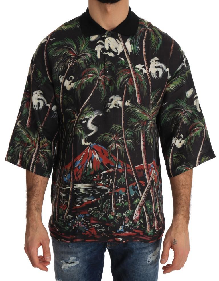 Dolce & Gabbana Men's Oversize Polo Shirt Black TSH2285 - IT54 | XL