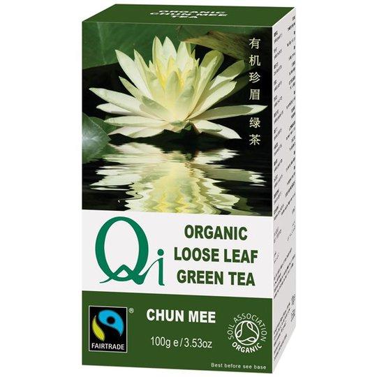 Qi Teas Grönt Te Chun Mee, handrullade lösblad, 100 g