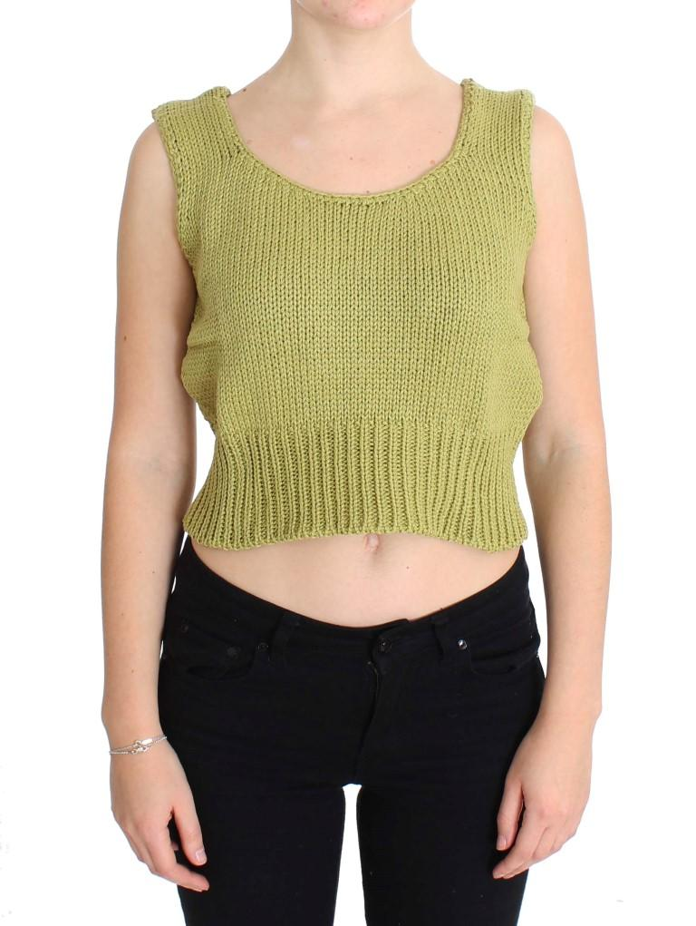 Pink Memories Women's Knitted Sleeveless Sweater Green SIG30252 - One Size