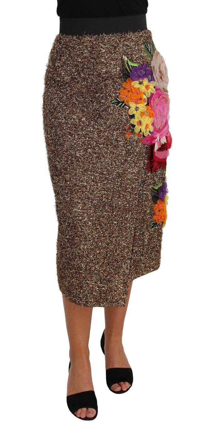 Dolce & Gabbana Women's Floral Silk Below Knee Shift Skirt Gold SKI1145 - IT40 S