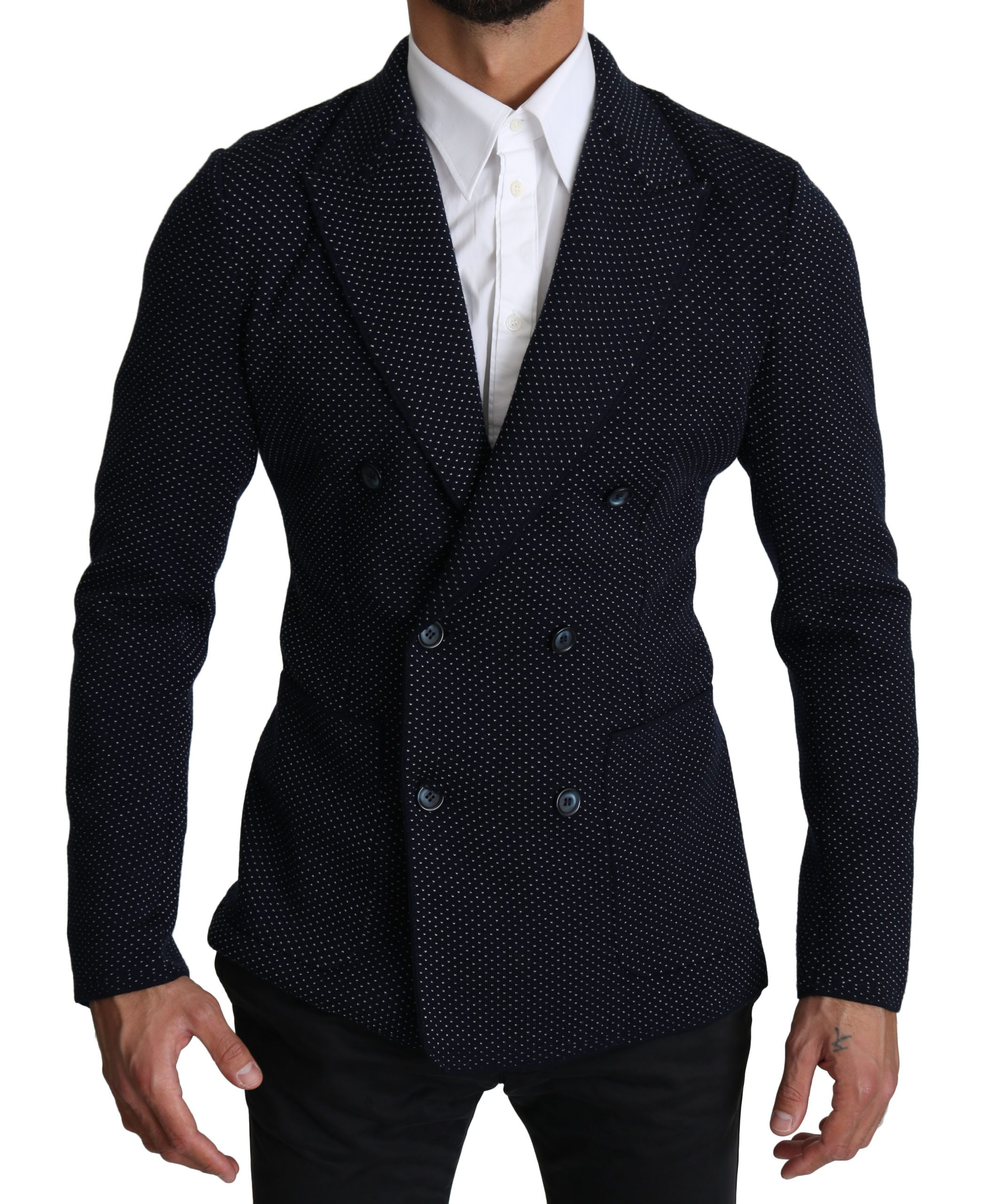Dolce & Gabbana Men's Dotted Double Breasted Blazer Blue KOS1536 - IT50 | L