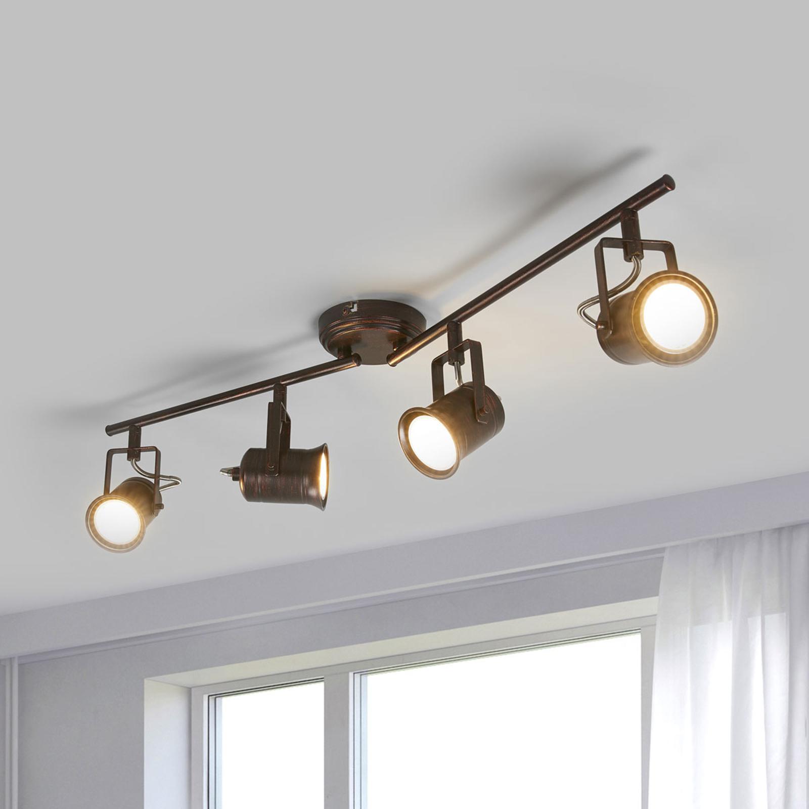 4-lamppuinen LED-kattovalaisin, rustiikkinen tyyli