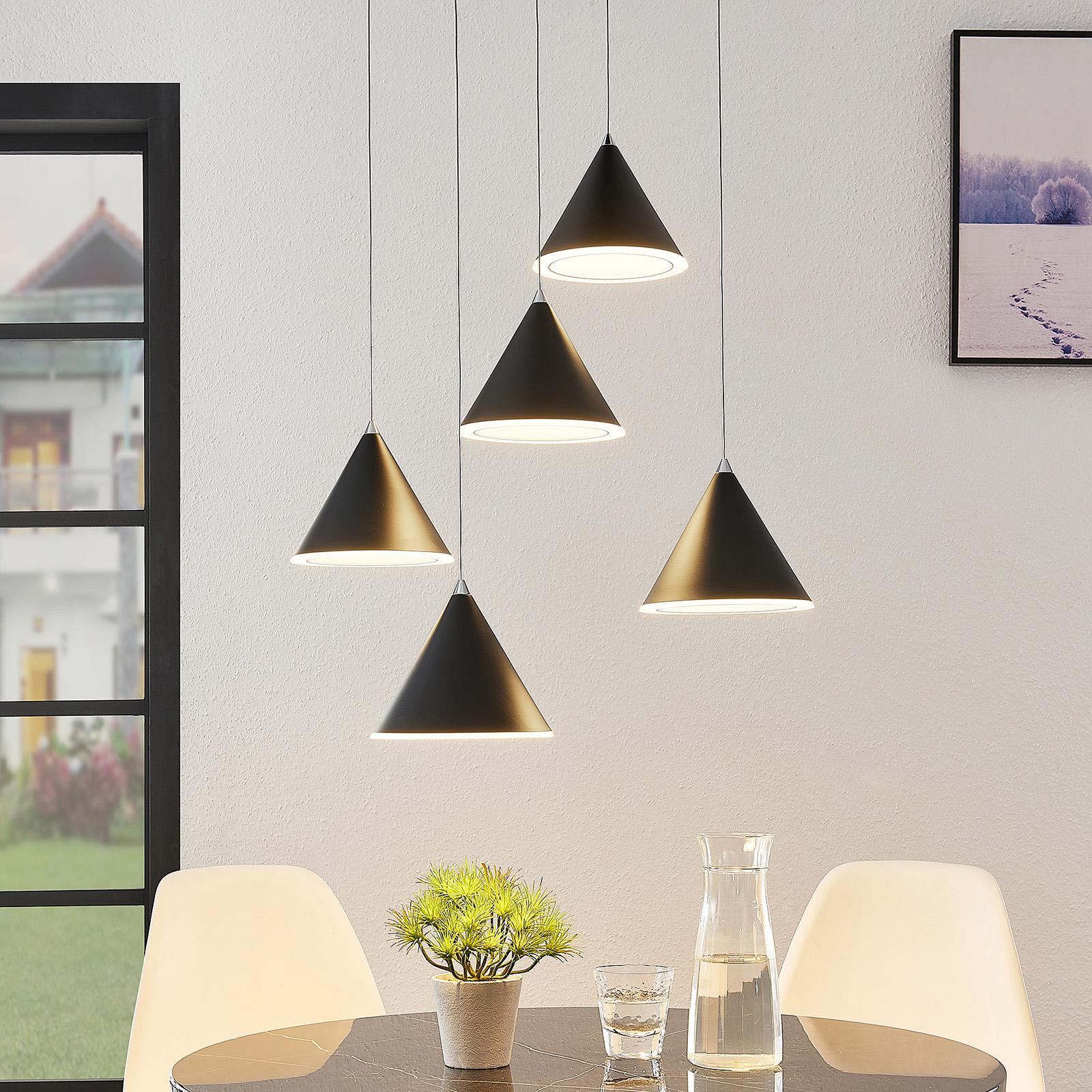 Lucande -LED-riippuvalaisin Livan, musta, 5-lamp.