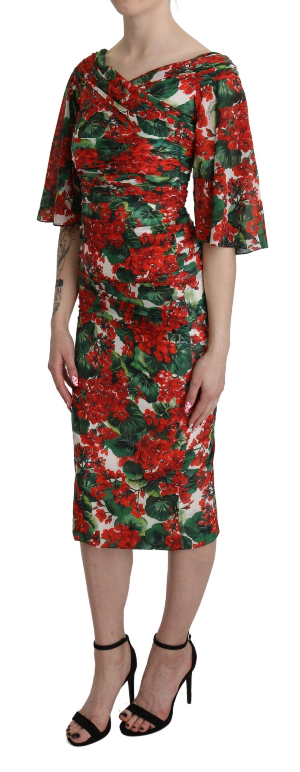 Dolce & Gabbana Women's Floral Midi Silk Dress Multicolor DR2617 - IT38 XS