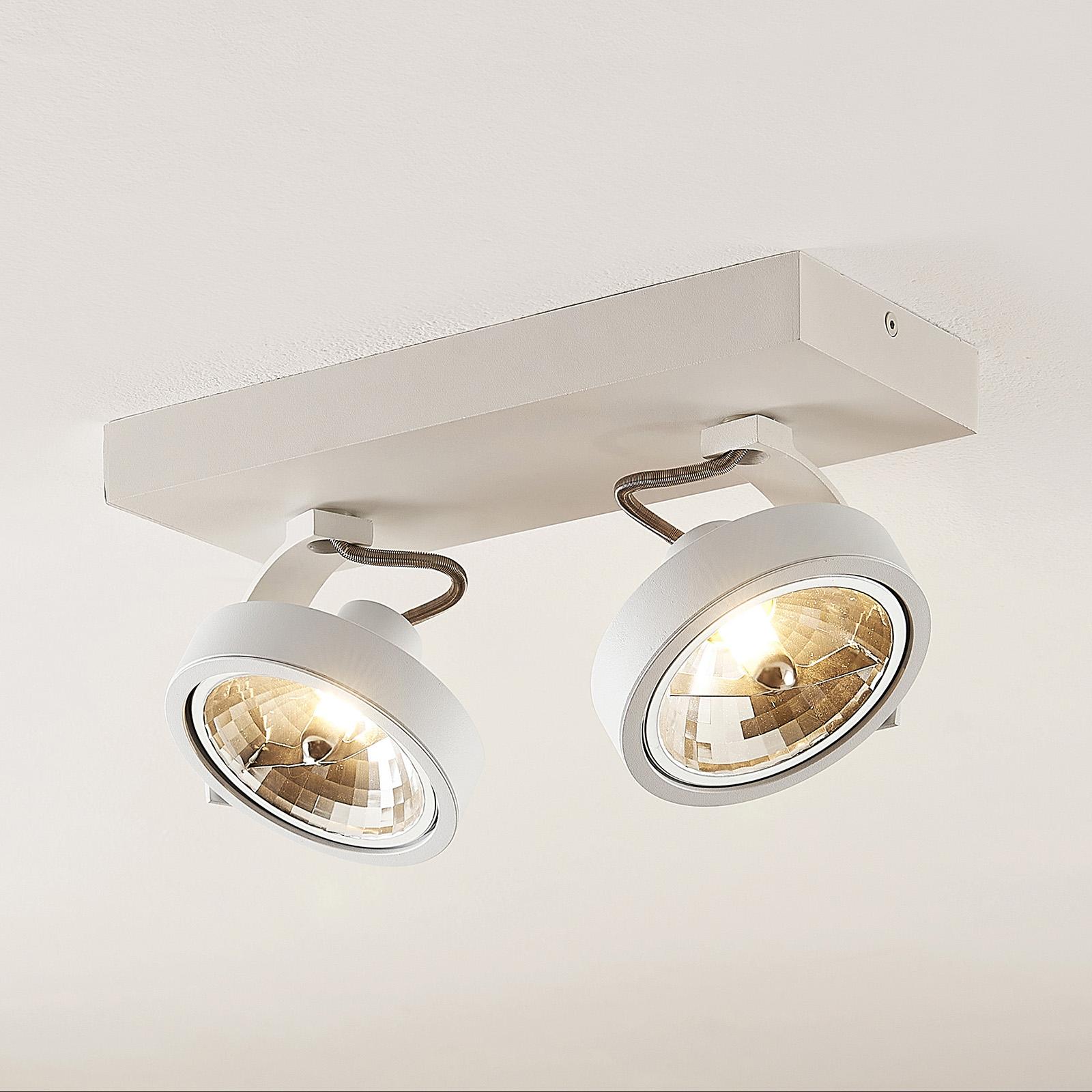 Arcchio Dagur -kattospotti, 2-lamp., valkoinen