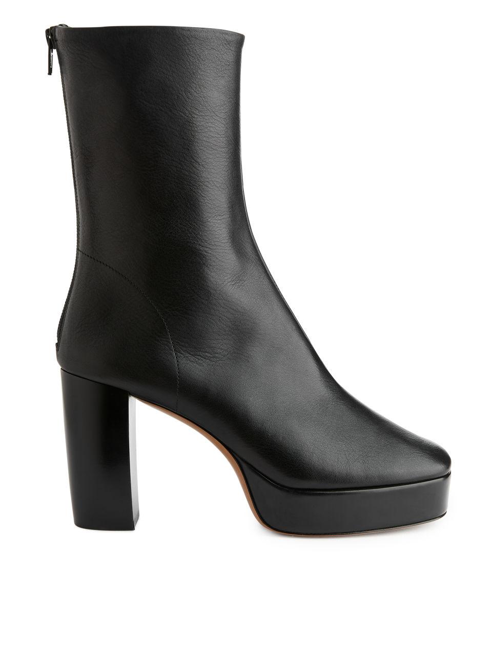 Platform Leather Boots - Black