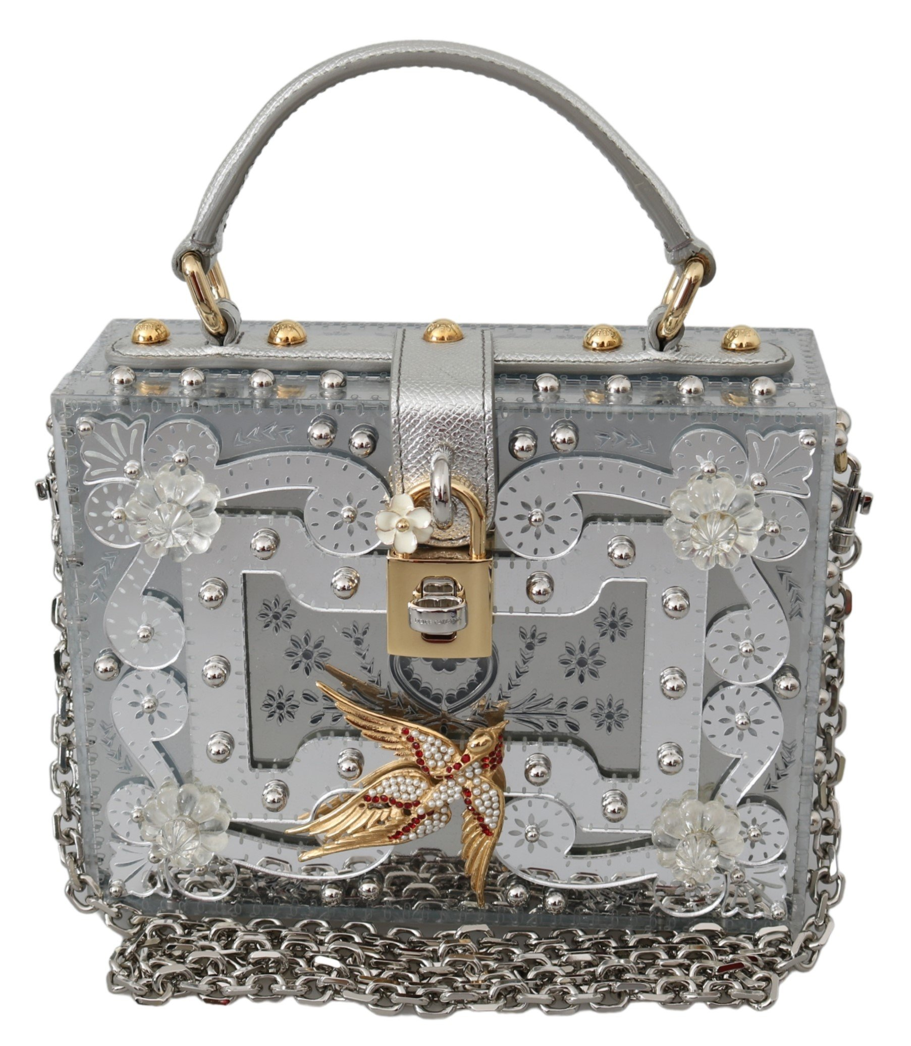 Dolce & Gabbana Women's Floral Padlock Clutch Bag Silver VAS10002