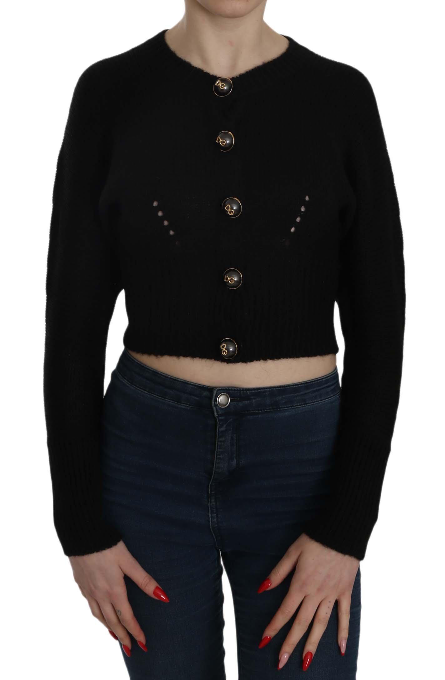Dolce & Gabbana Women's Button Embellish Crop Cardigan Black TSH3714 - IT36|XXS