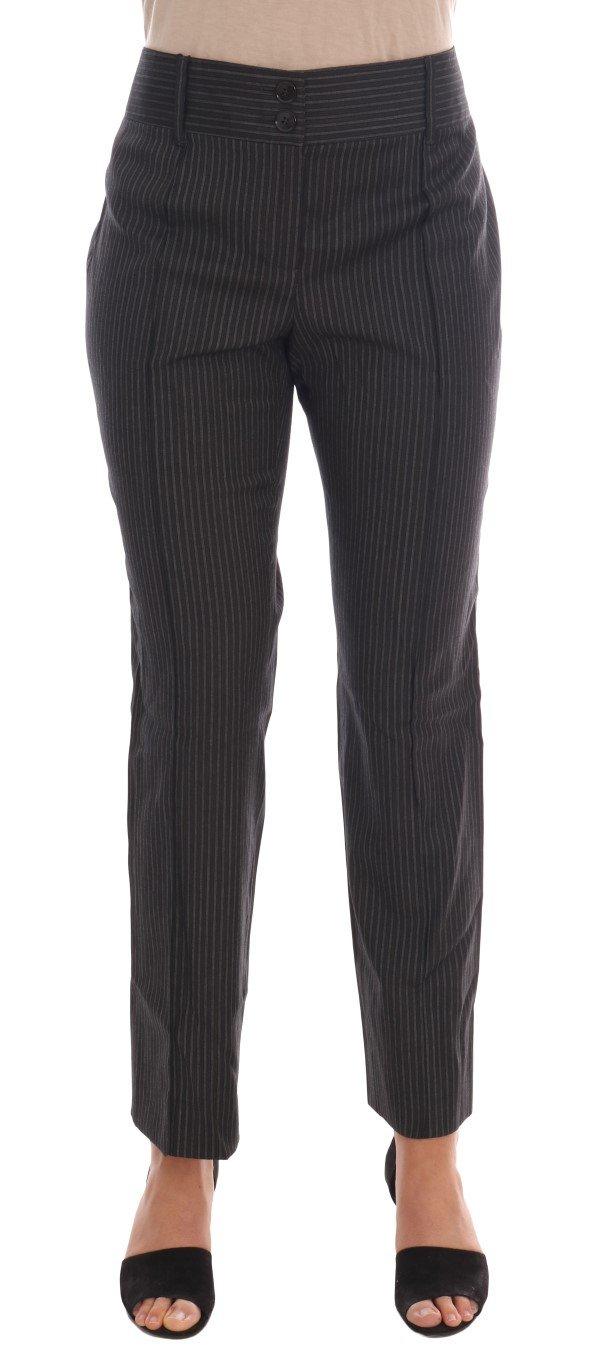 Dolce & Gabbana Women's Wool Stretch Slim Dress Trouser Gray BYX1132 - IT46|XL