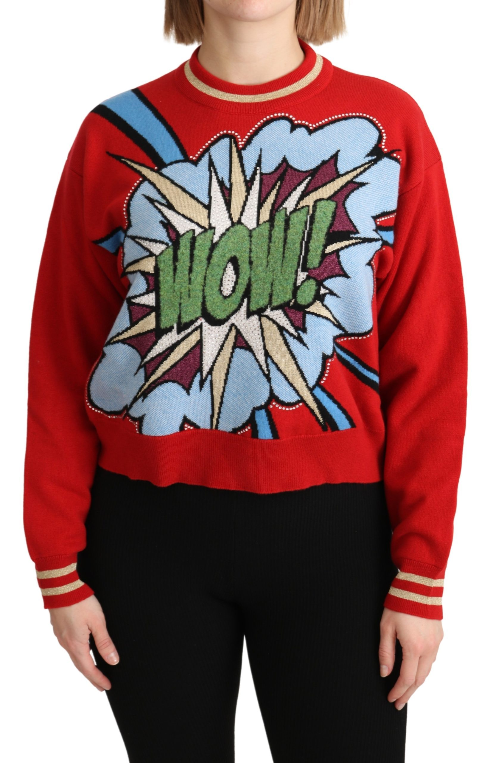 Dolce & Gabbana Women's Knitted Cashmere Cartoon Top Sweater Red TSH5152 - IT40|S