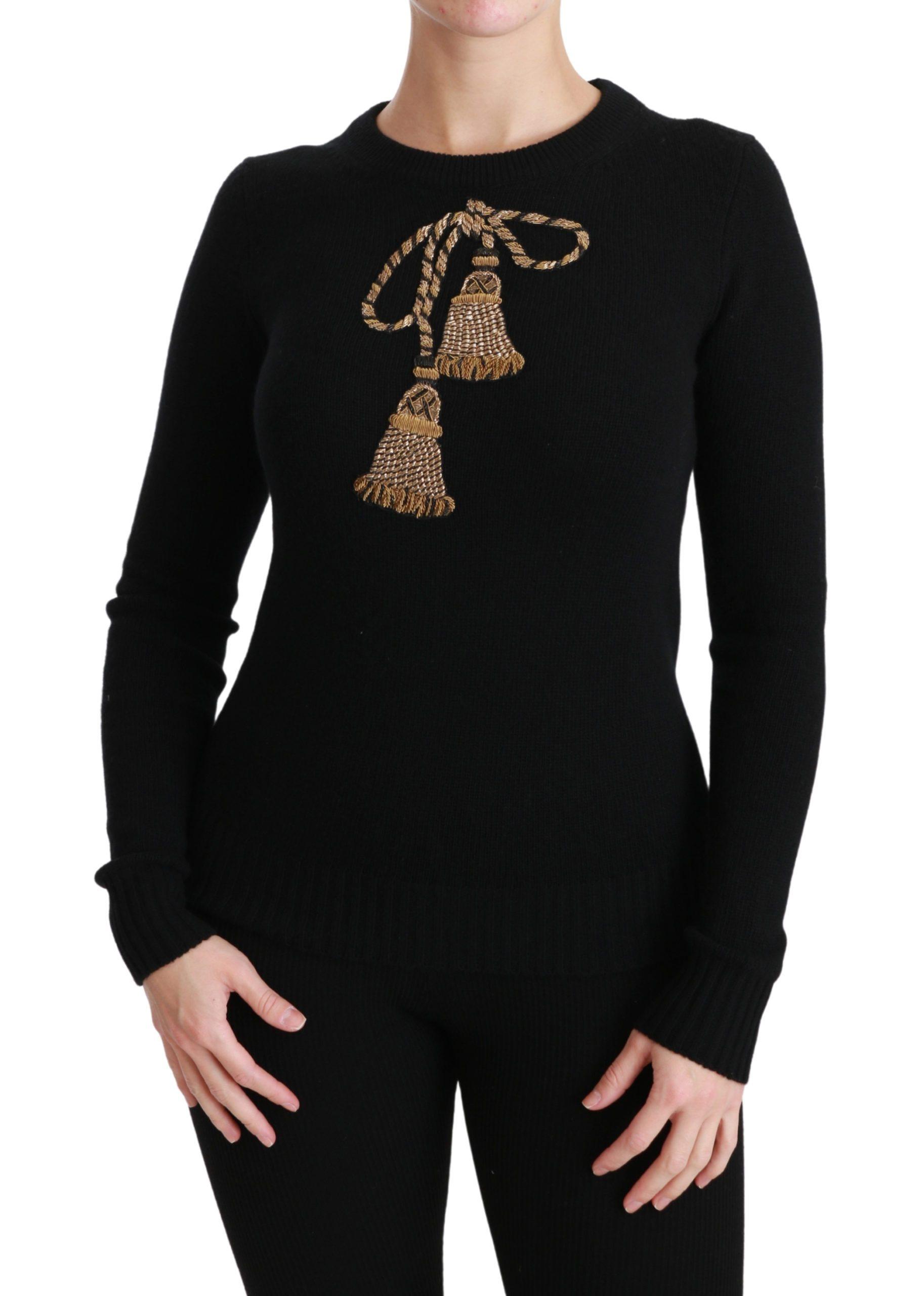 Black Wool Gold Tassel Pullover Sweater - IT38 XS