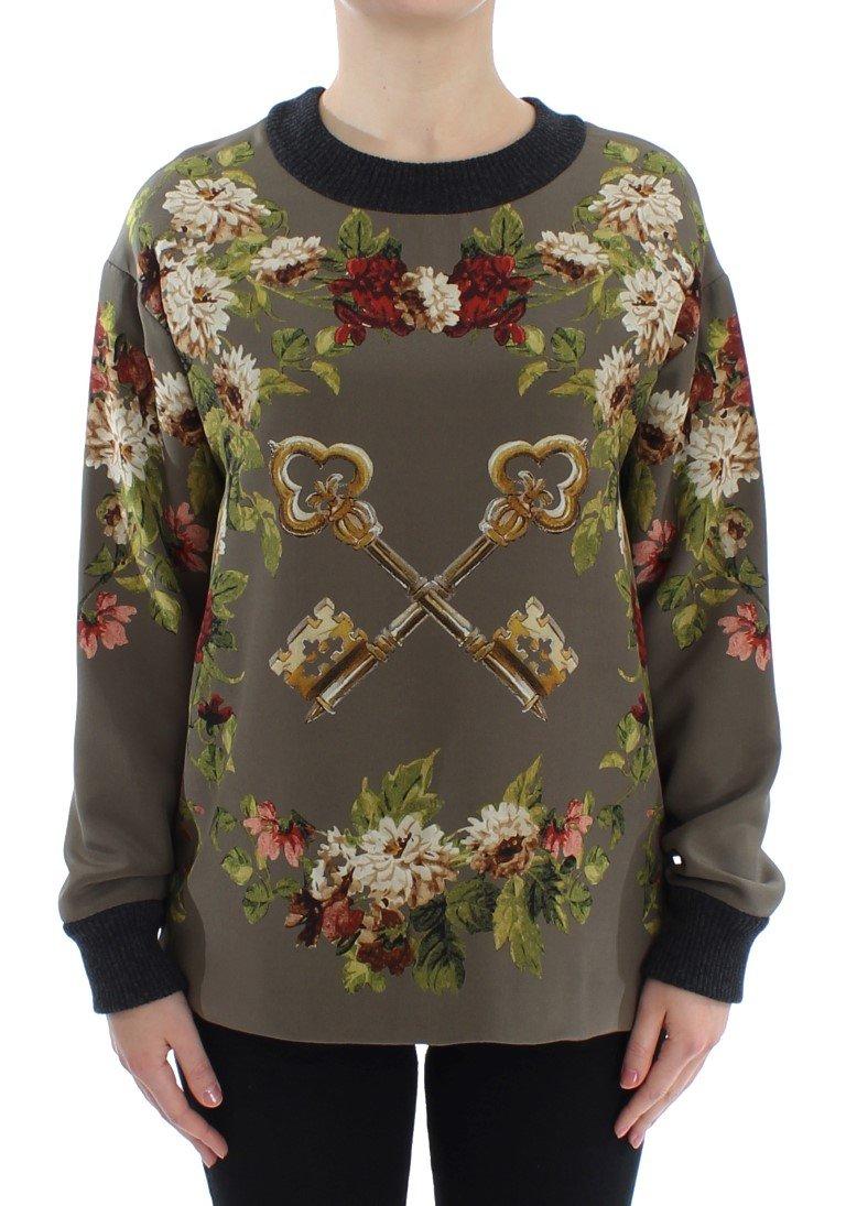Dolce & Gabbana Women's Key Floral Print Silk Sweater Green SIG13160 - IT40|S