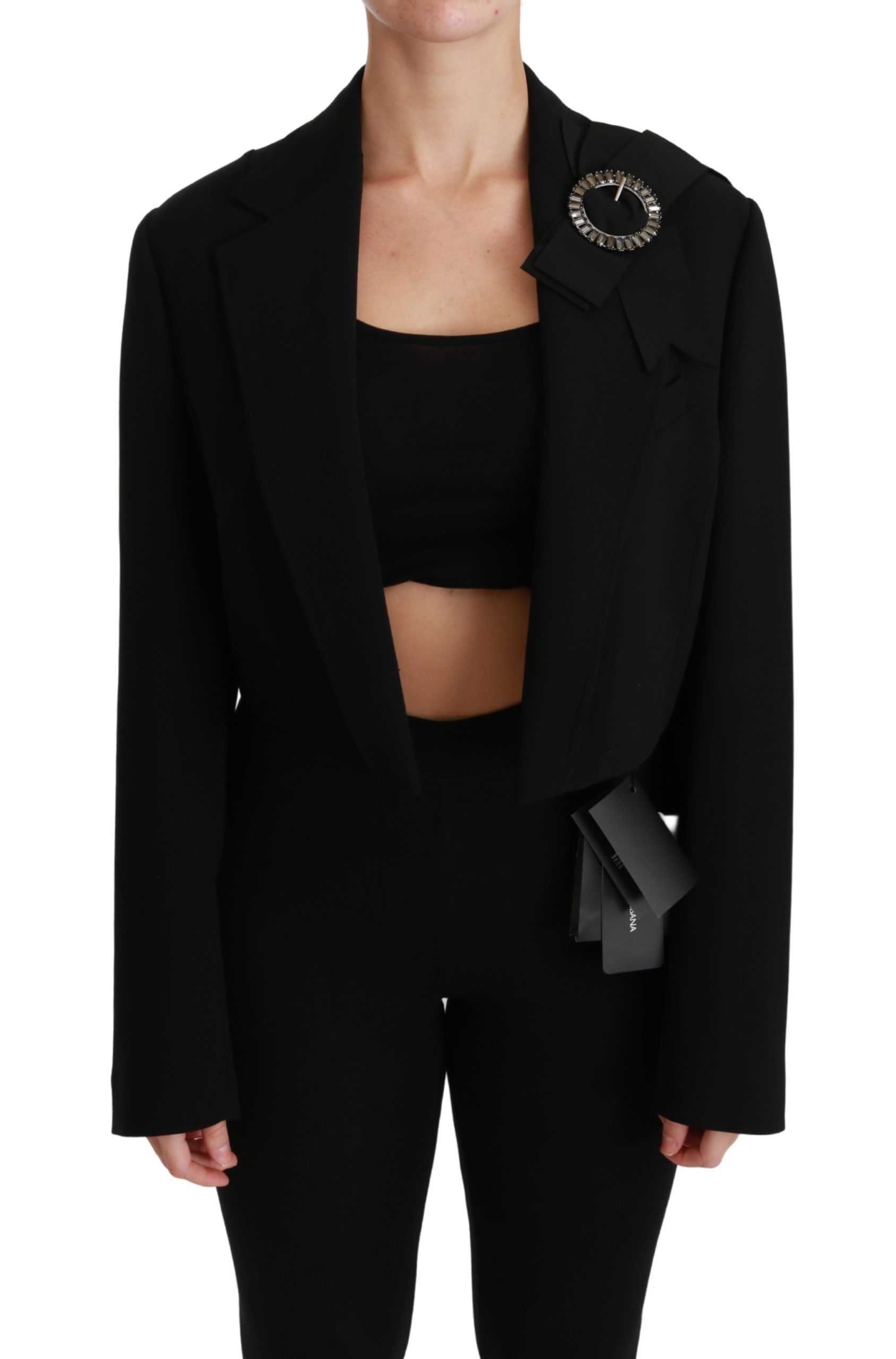 Dolce & Gabbana Women's Cropped Wool Stretch Blazer Black JKT2536 - IT44|L