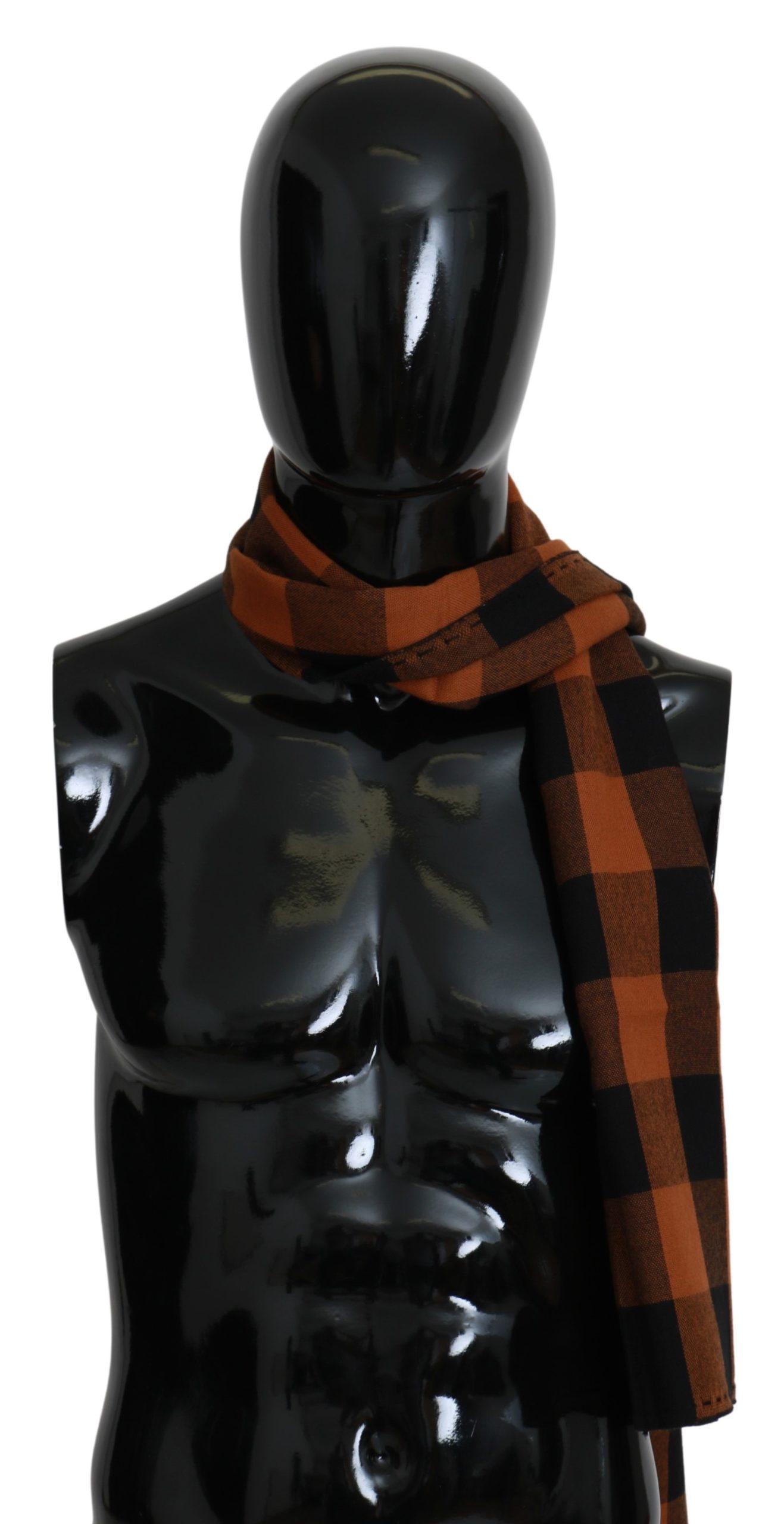 Costume National Men's Check Neck Wrap Scarf Orange MS1537
