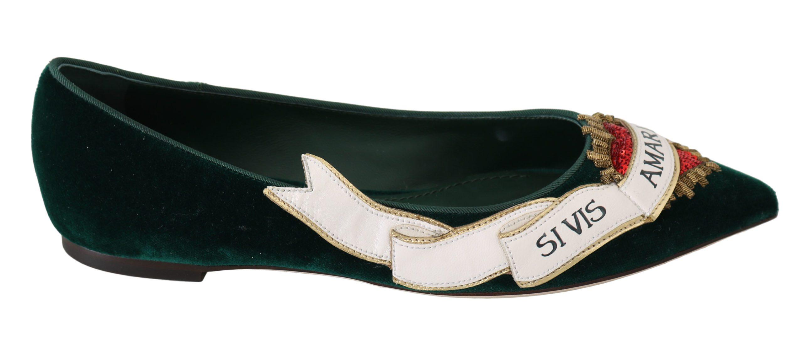 Dolce & Gabbana Women's Heart Flats Green LA6255 - EU36.5/US6