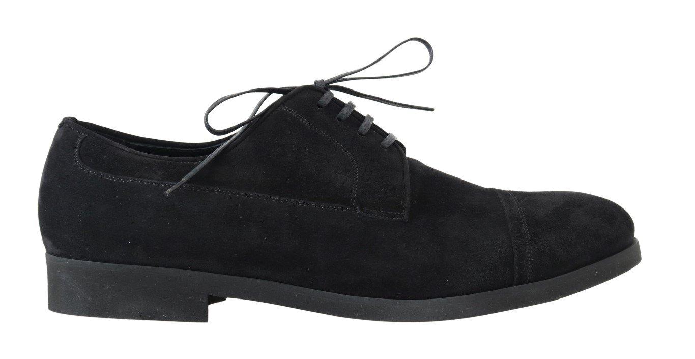 Dolce & Gabbana Men's Suede Leather Formal Derby Shoes Black MV1686 - EU40/US7