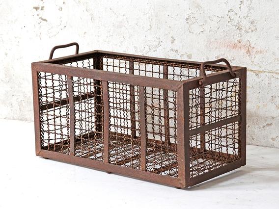 Vintage Metal Storage Basket Brown