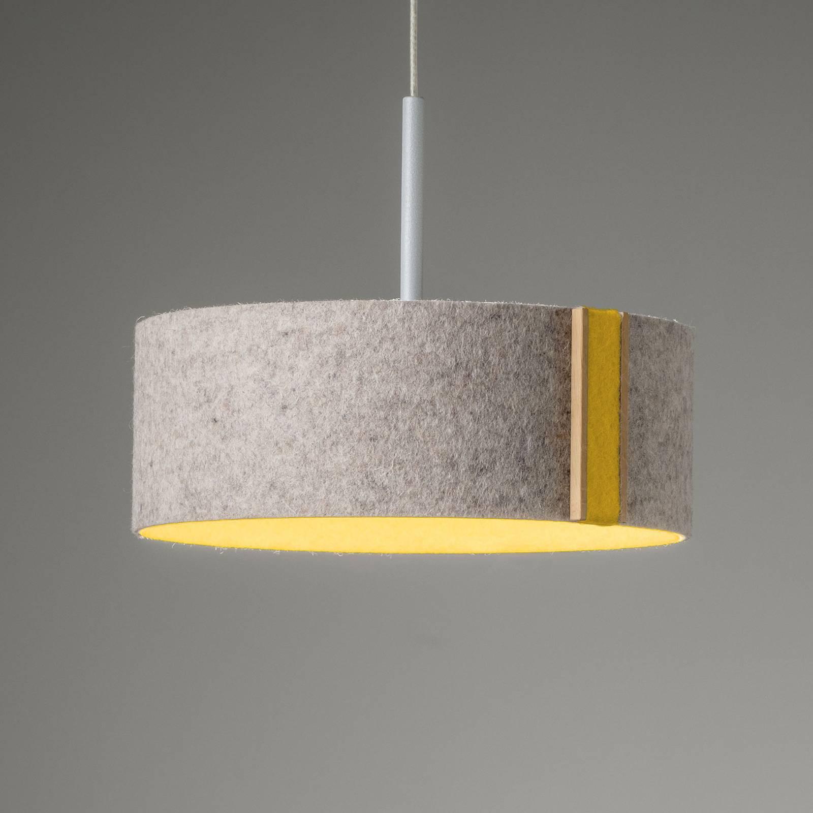 LED-riippuvalaisin LARAfelt S, Ø20cm, harmaa/curry
