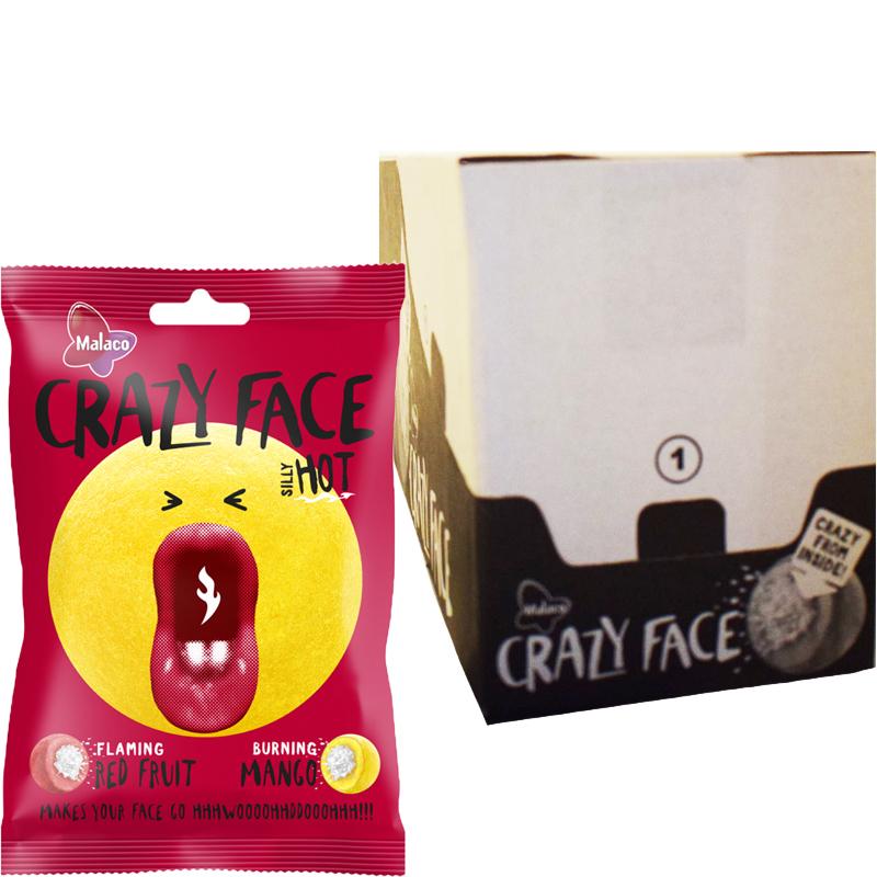 "Laatikollinen ""Crazy Face Hot"" Makeispussia 14 x 80g - 76% alennus"
