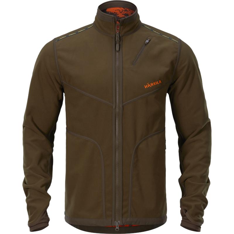 Härkila Wildboar Pro Vendbar jakke L Fleece,Willow Green/Orange Blaze