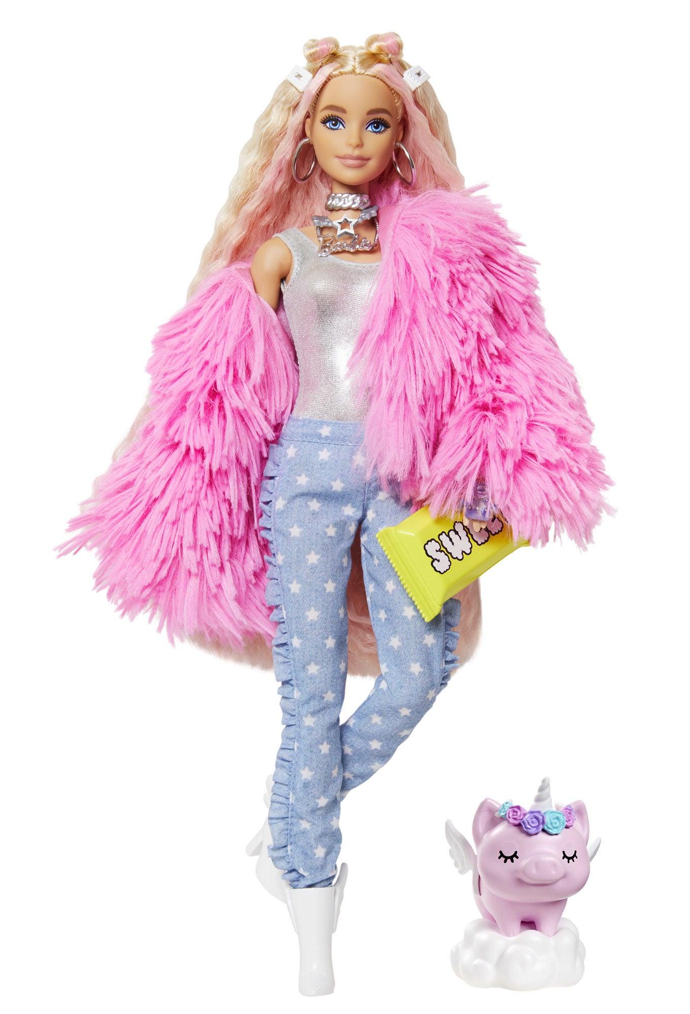 Barbie Extra Doll Fluffy Pink Jacket Docka