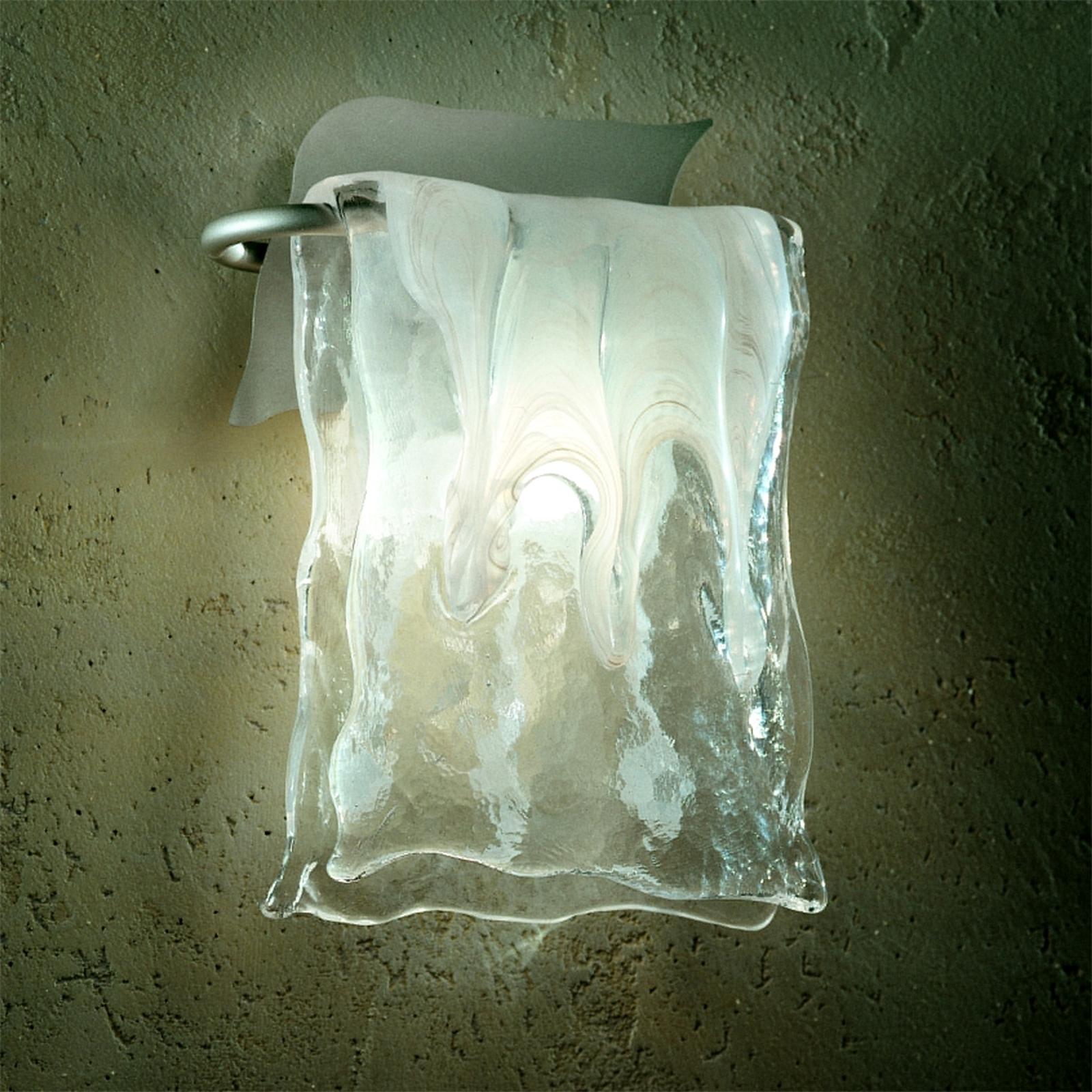 Alumiini/lasi-seinävalaisin MURANO, 2 kokoa