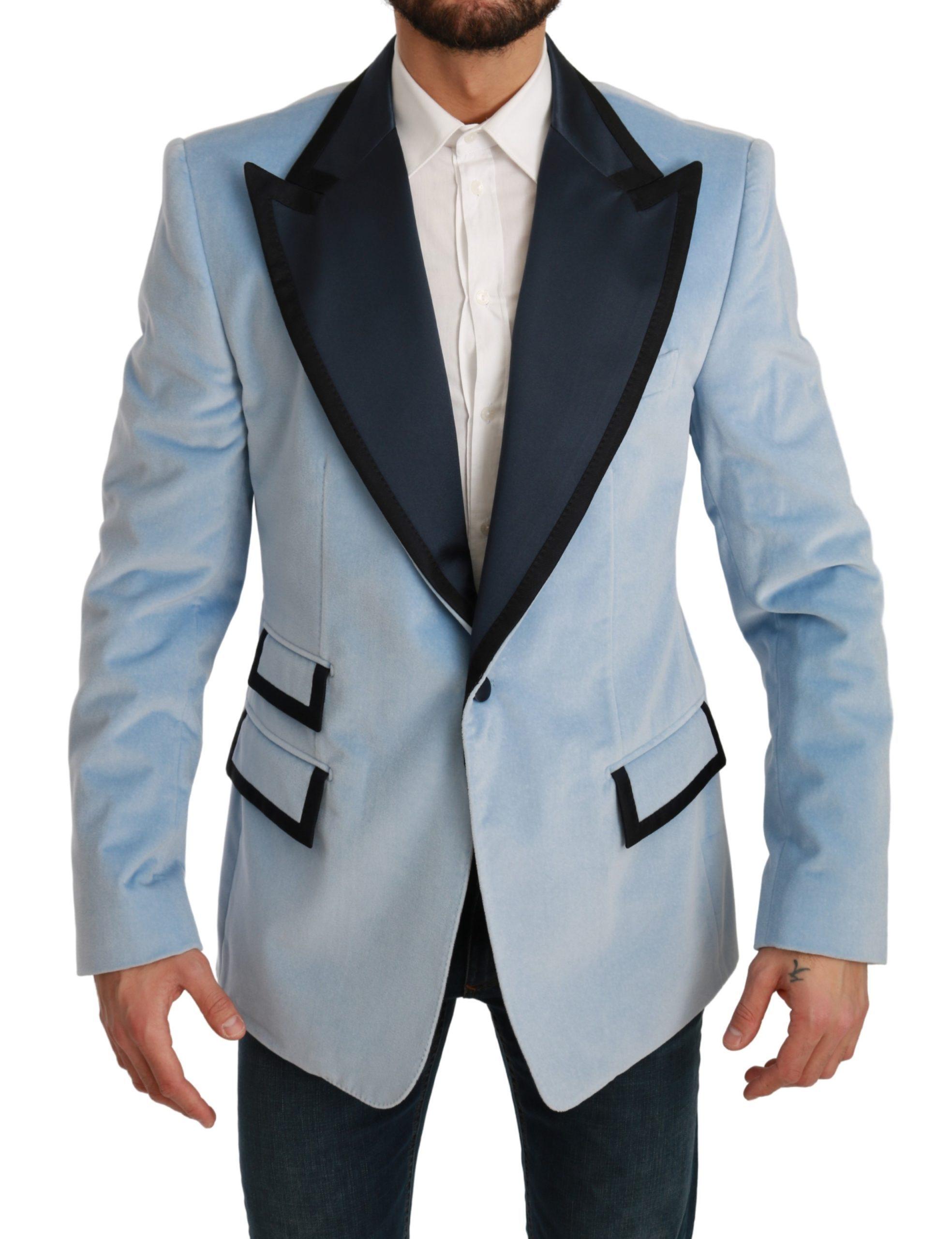 Dolce & Gabbana Men's Slim Fit Jacket Velvet Blazer Light Blue KOS1706 - IT54   XL