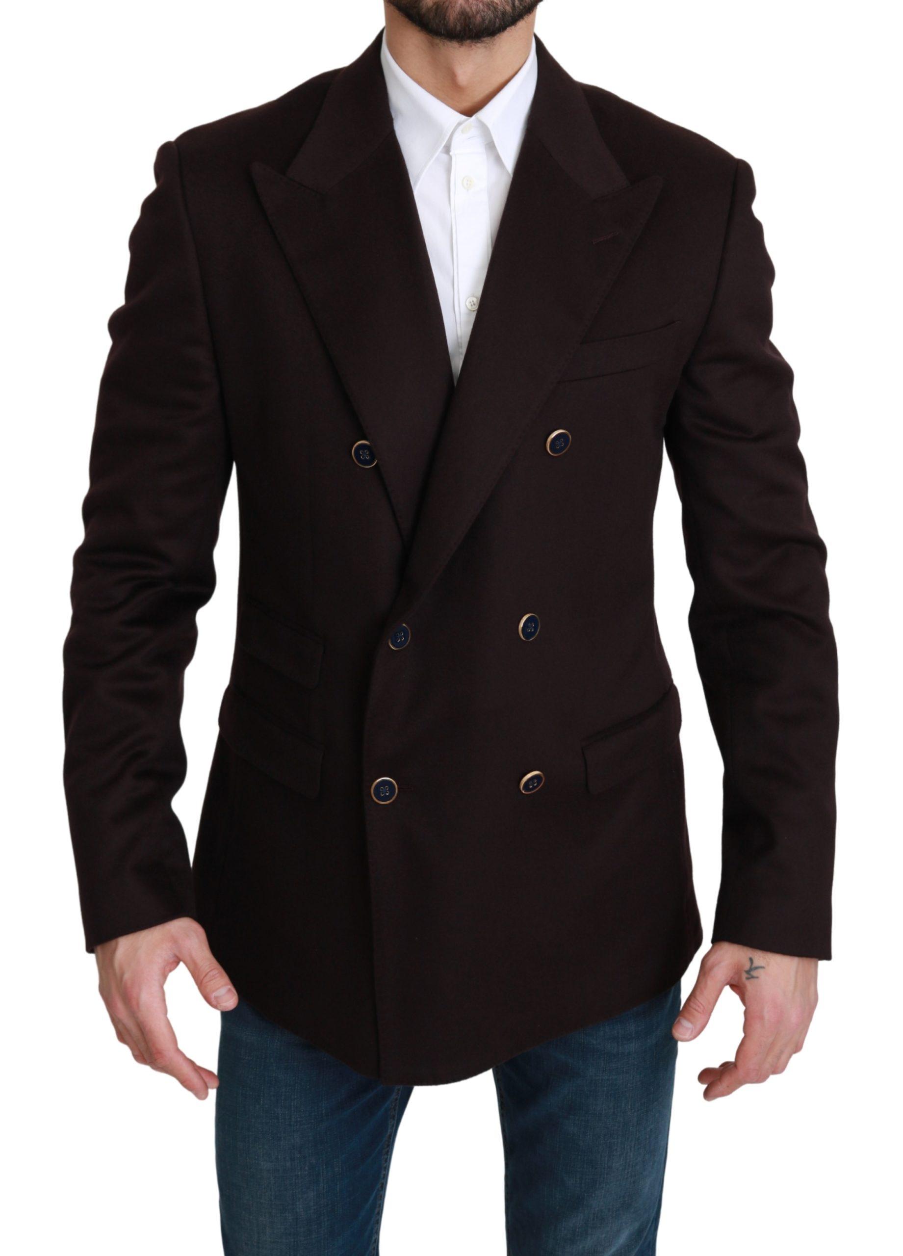 Dolce & Gabbana Men's Double Breasted TAORMINA Blazer Bordeaux KOS1751 - IT52 | XL