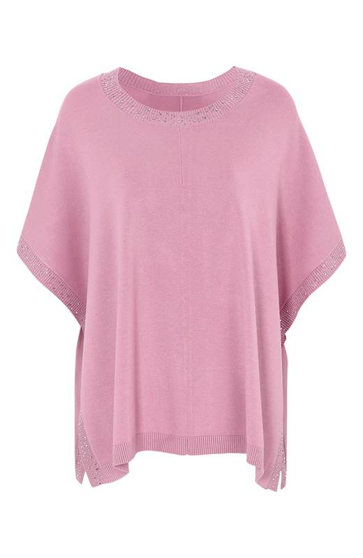 Cellbes stickad poncho med glitter Rosa