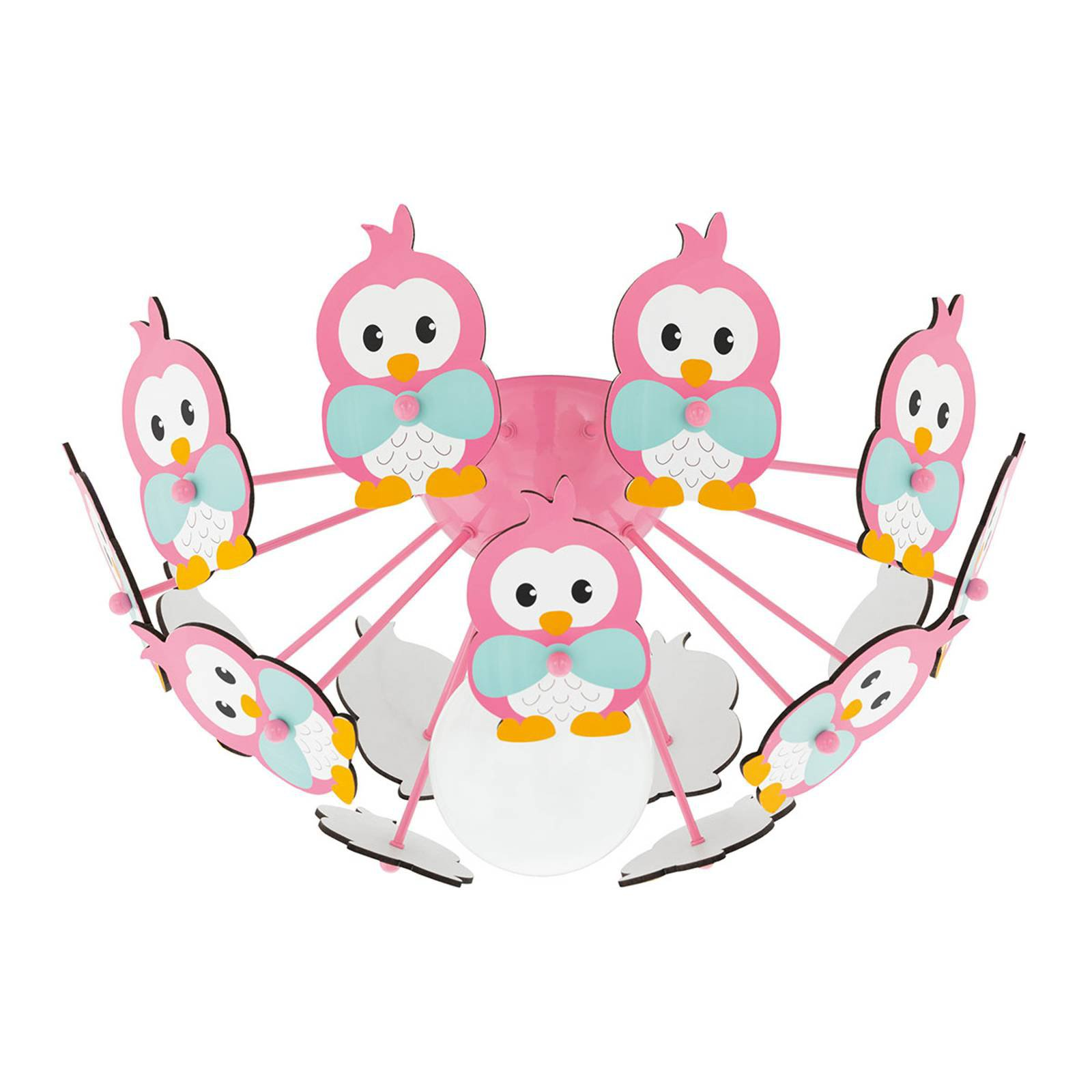 Taklampe Viki 2 med pingviner rosa