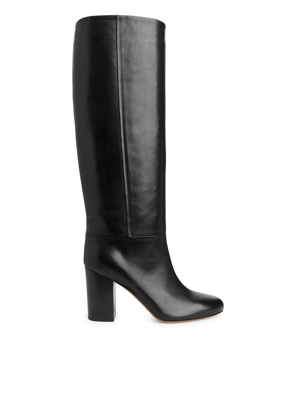 High-Heel Leather Boots - Black