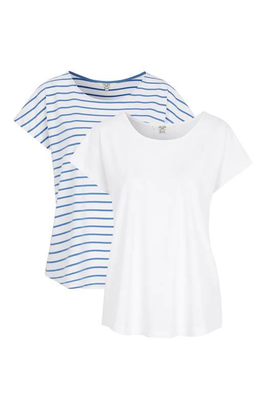 Cellbes T-Shirt 2-Pack Blå Randig Vit