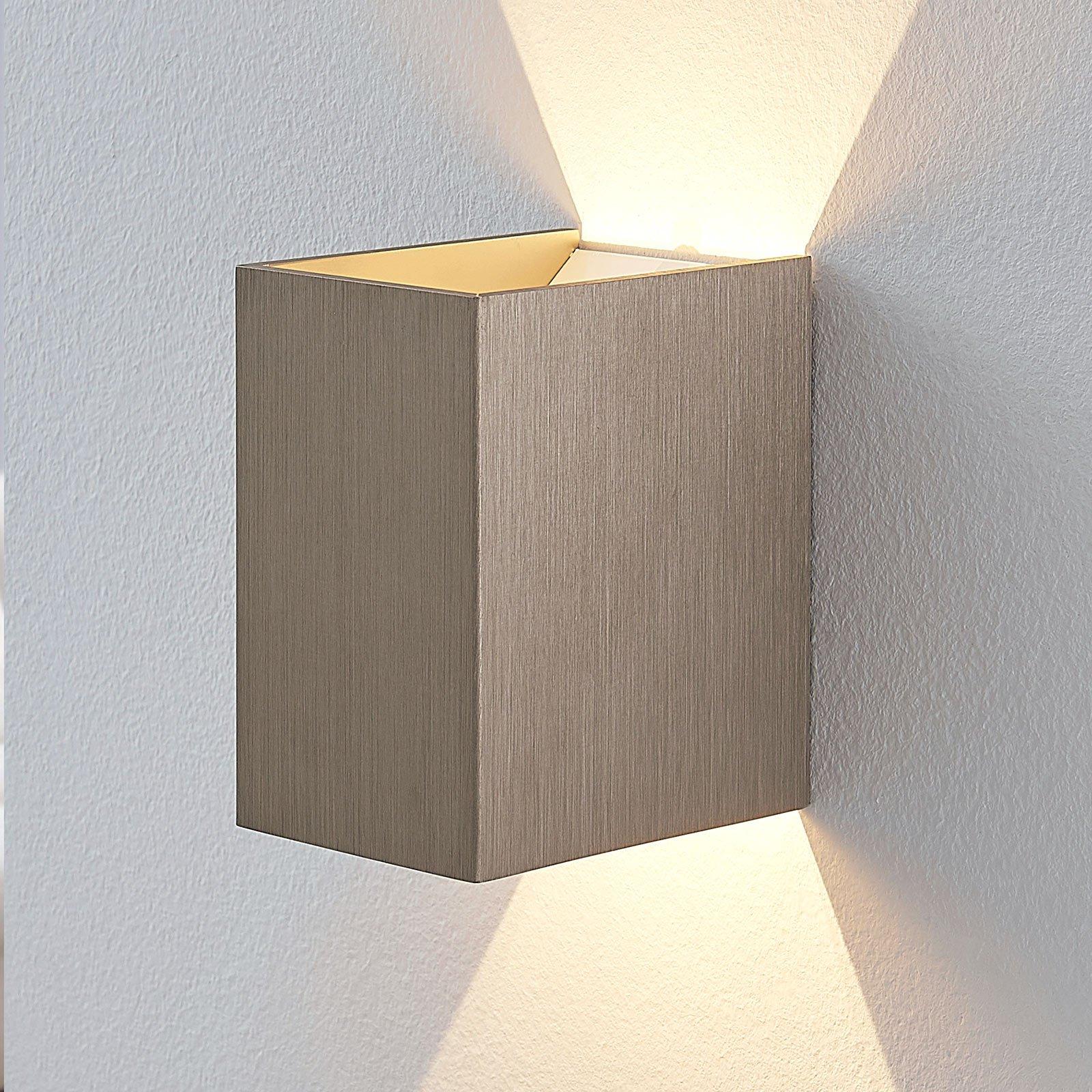 LED-vegglampe Jorden, satinert nikkel