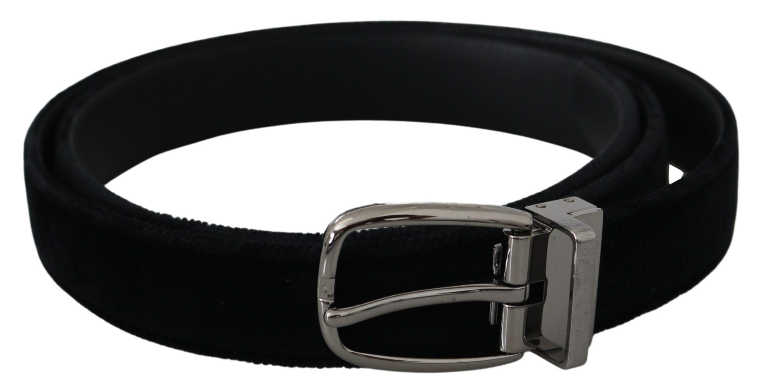 Dolce & Gabbana Men's Velvet Silver Oval Buckle Belt Black BEL60884 - 95 cm / 38 Inches