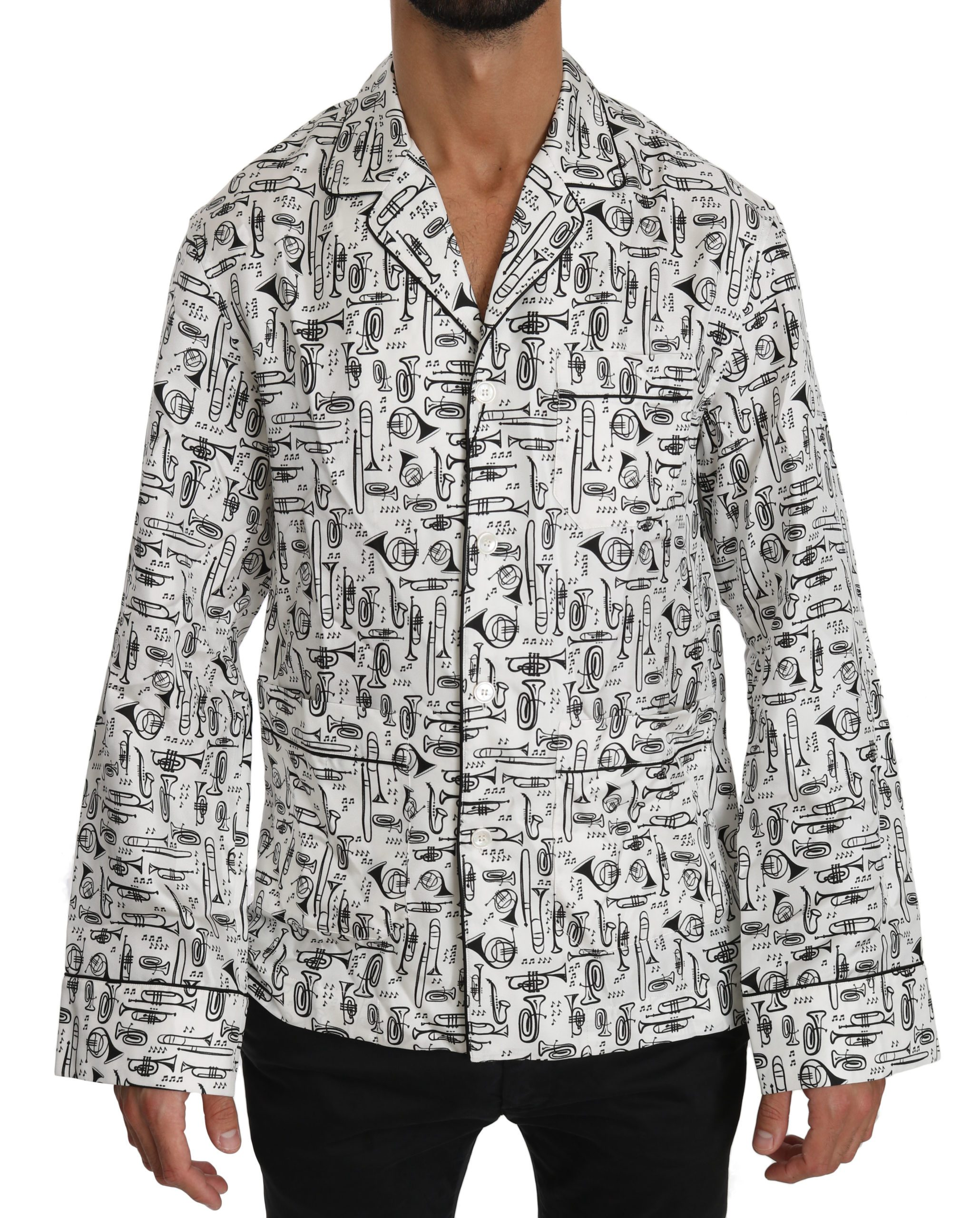 Dolce & Gabbana Men's Musical Instrument Silk Shirt White TSH4008 - IT37   XS