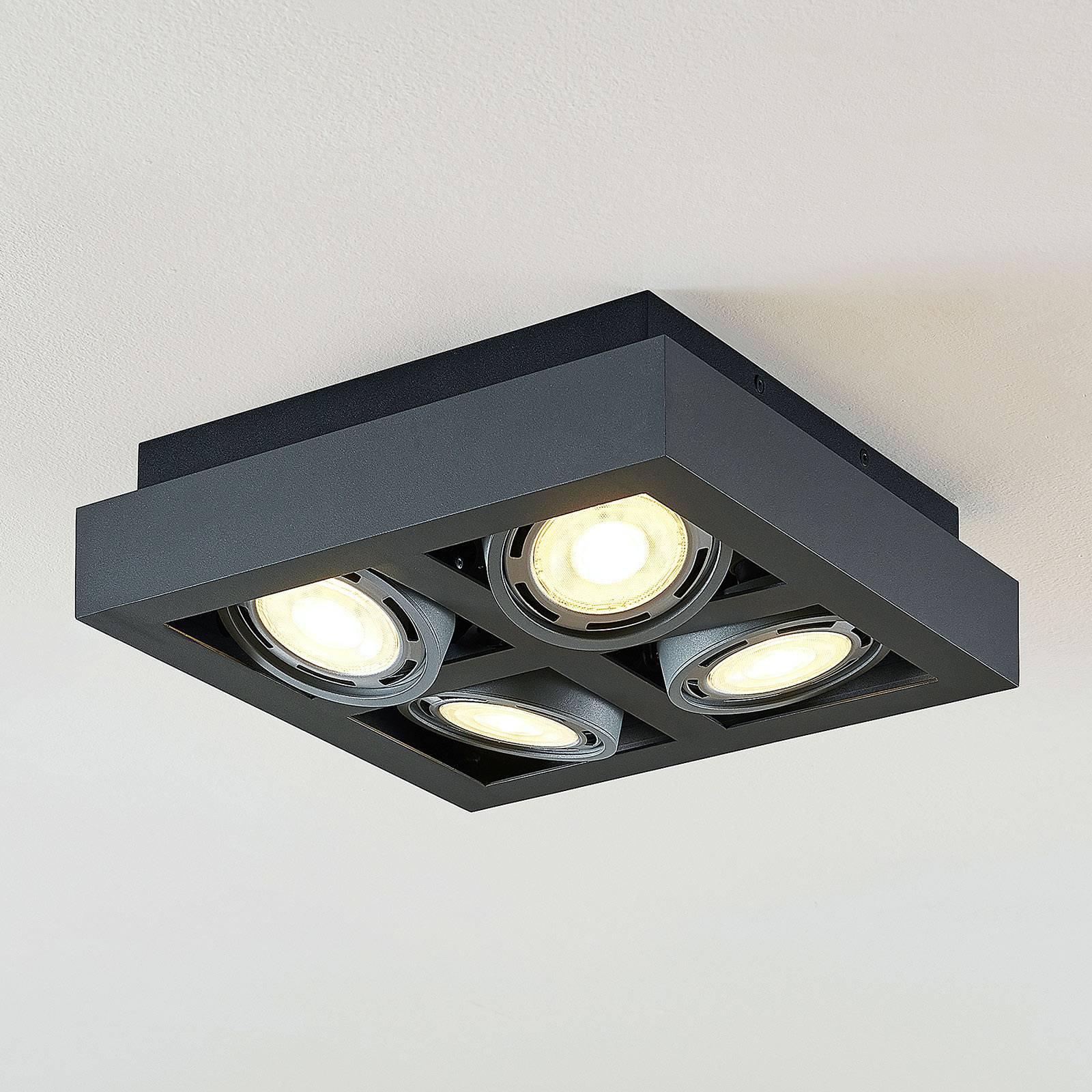 LED-takspot Ronka, 4 lyskilder, kvadratisk, grå