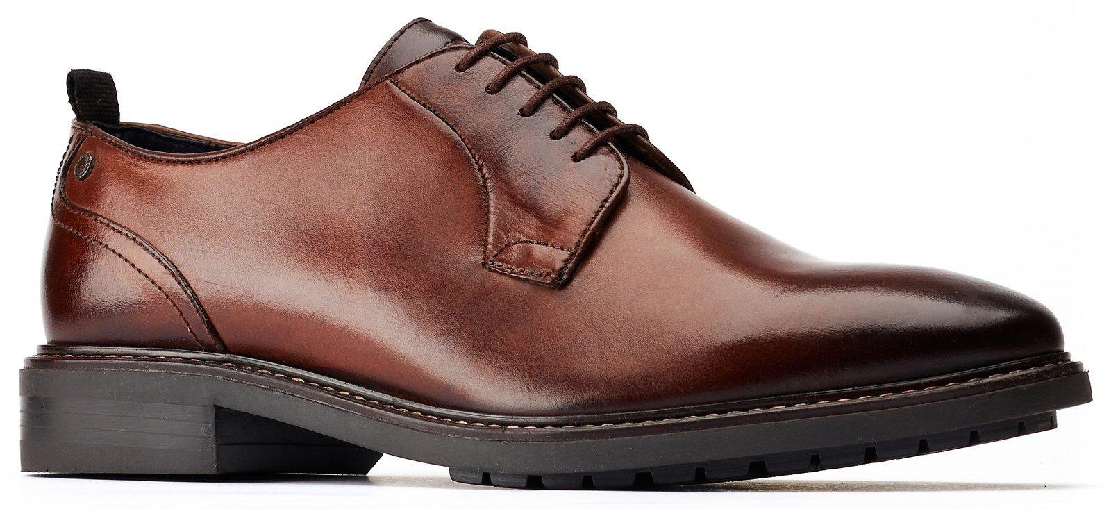 Base London Men's Boston Plain Toe Derby Shoe Brown 31209 - Brown 6