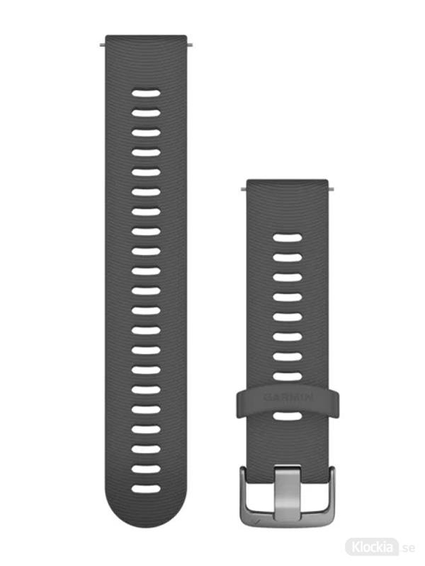 Garmin Armband 20mm med snäppspänne, Skiffergrått silikonarmband med spänne i rostrfritt stål