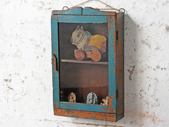Rustic Wall Cabinet Blue