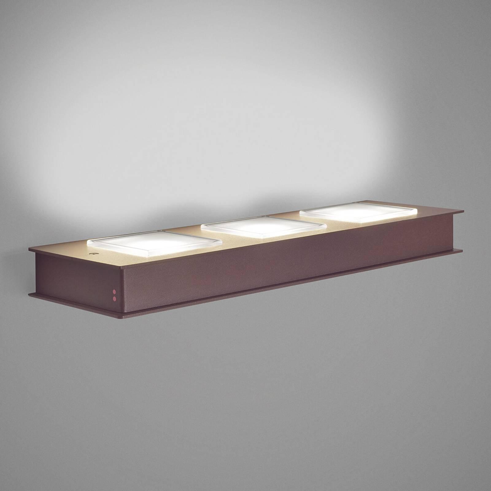 Fabbian Quarter - LED-vegglampe 3 lyskilder, brun